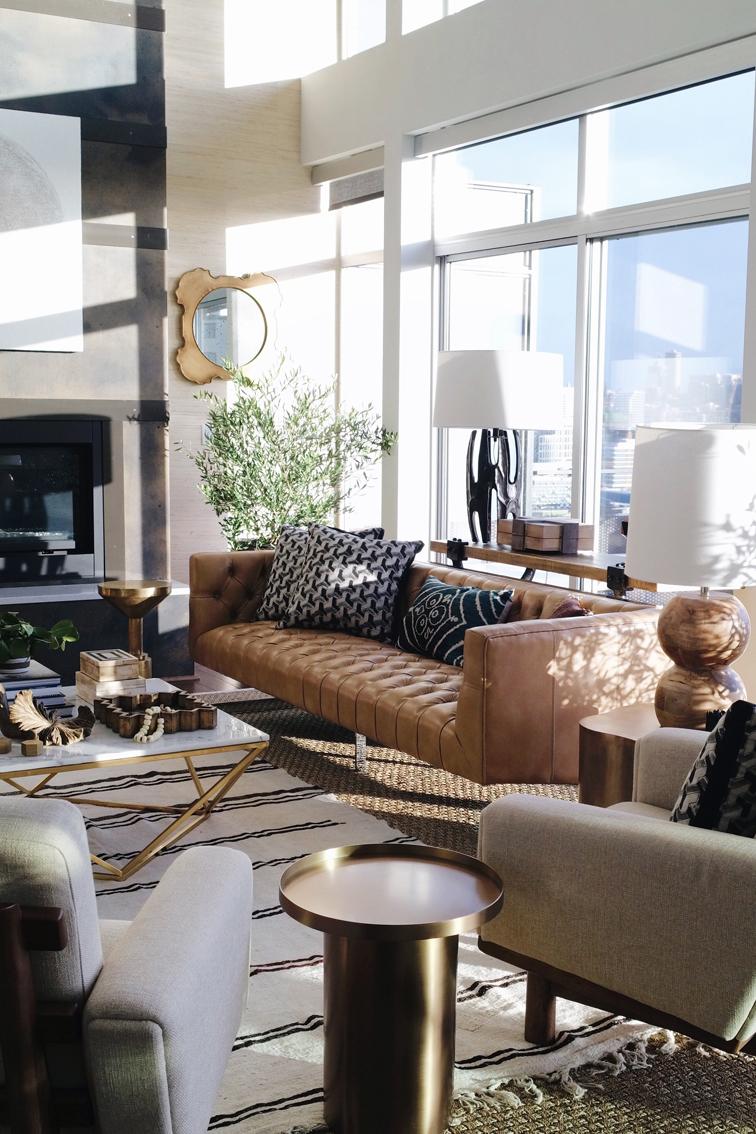 Living Room Interior Design Leather Sofa
