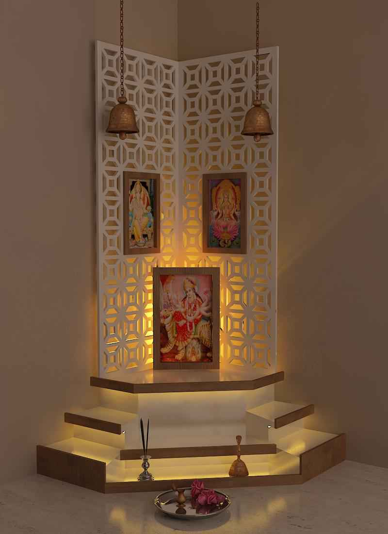 Pretty up your puja room discern living for Design of mandir in living room