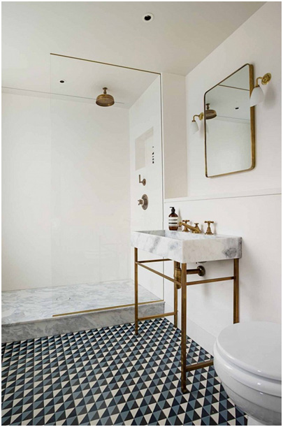Modern Eclectic Bathroom with Geometric Tiles