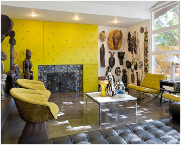 Living Room Interior Design with Prints and Textures