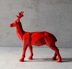 burton-geometric-red-stag-sculpture