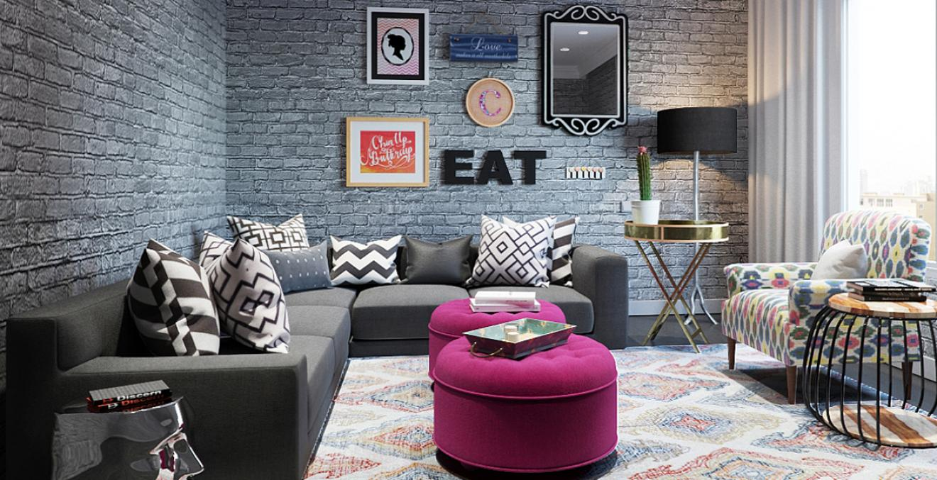 Trendy Eclectic Living Room Discern Living