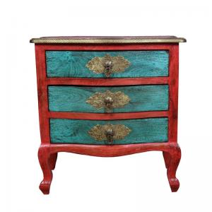 Chest Of Drawers In Red And Green Polish And Brass Work