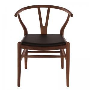 Hans Wegner Wishbone Chair Leather Replica American Walnut