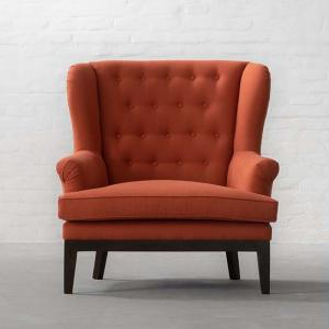 Paris Loveseat Collection 1 Seater-100% Cotton Udaipur Natural Tangerine