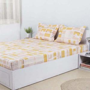 The Unfinshed Building Cotton Double Bedsheet & 2 Pillow Covers - Yellow  - 92 x 110