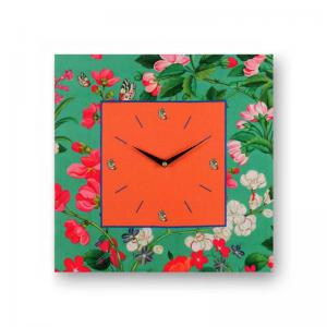 Floral Green Framed Analogue Wall Clock - Orange