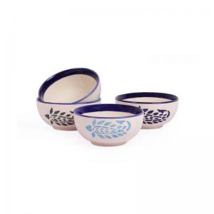Desert Katori Bowls Paisley Set of Four - Blue