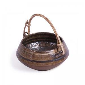 Brown Ceramic Handi Serving Bowl with Cane Handle