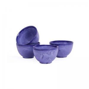 Dessert Katori Bowls Marble  Set of Four - Blue