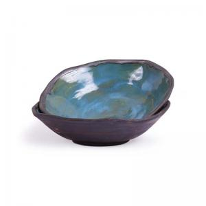 Mosaic Blue Green Ceramic Snack  Serving Dish Set of Two