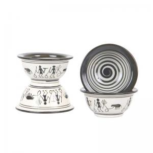Ceramic Warli Dessert Bowls Set of Four