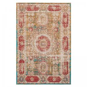 Rustic Beige And Red Traditional Area Rug