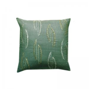 Leaf Embroidered Matka Silk Cushion Cover