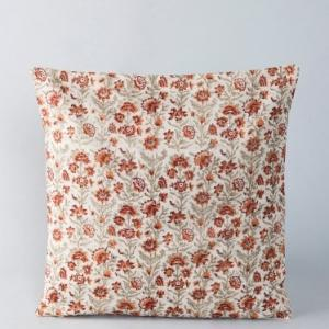 Off White Chanderi Silk Cotton Printed Jaal Cushion Cover