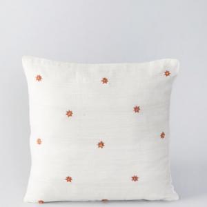 Off White Silk Embroidered Jamini Buti Cushion Cover