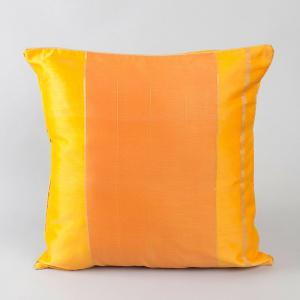 Yellow Chanderi Woven Udai Cushion Cover