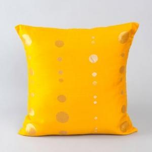 Yellow Chanderi Woven Circle Cushion Cover