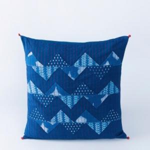 Blue Cotton Printed Dabu Patchwork Zigzag Cushion Cover