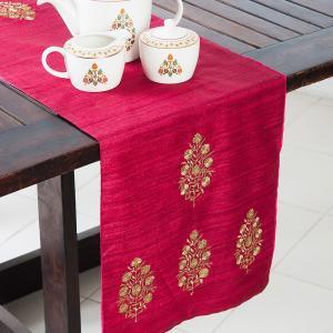 Wine Silk Embroidered Divit Buta Runner