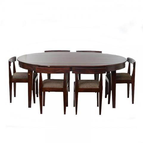 Dark Mahogany Finish Dining Table with Flushed in 6 chairs