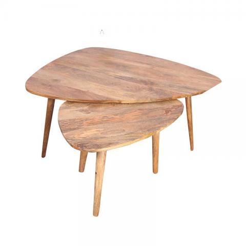 Wooden Oak Finish Coffee Table Set Of 2