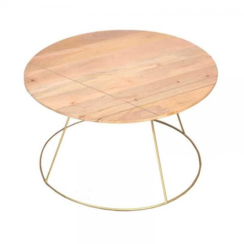 Artdreco Round Coffee Table With Gold Lining And Metal Base