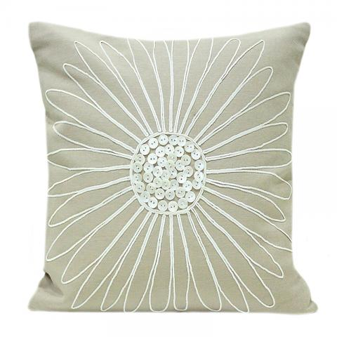 Floral Pearl - Green Cushion Cover