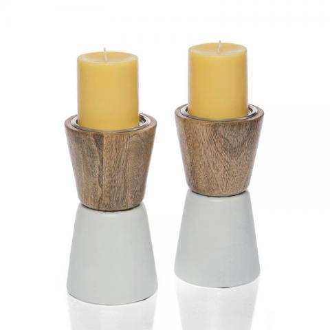 Wooden Pillar Holder White