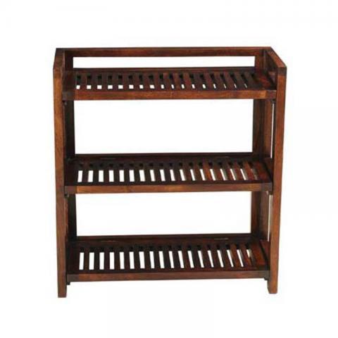 Mango Wood 3 Shelf Folding Rack
