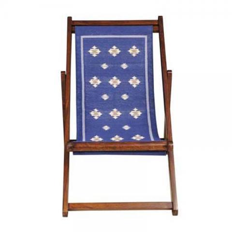 Easy Chitki Blue Durrie Sheesham Chair
