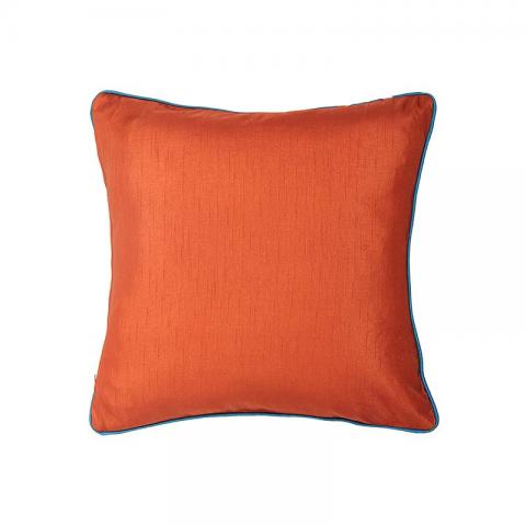 Plain Cushion Cover Rust-Orange with Teal Cord Piping