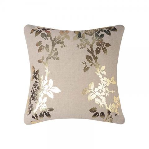 Gold Foil Printed Leaf Abstract Cushion Covers