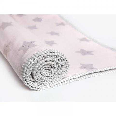 Sleepy Star Pink Organic Dohar Blanket With Dohar