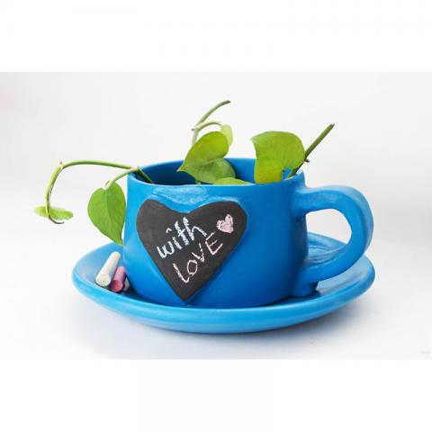 Write-on-me Planter - Heart Blue