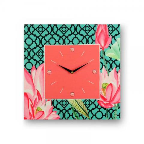 Floral Green Framed Analogue Wall Clock - Pink