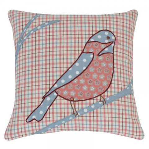 Home Boutique - Bird Patch Cushion Cover Maroon