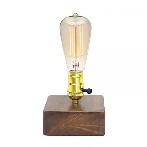 Wooden Base Table Lamp With Switch Holder
