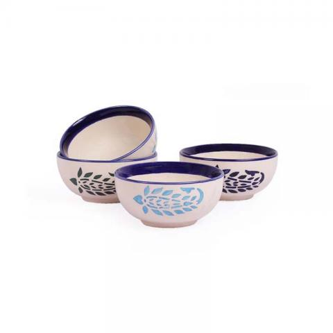 Desert Katori Bowls Paisley Set of Four - Blue
