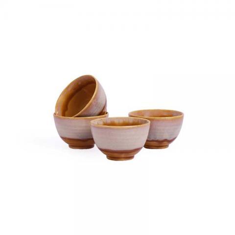Dessert Katori Bowls Mustard Set of Four - Golden