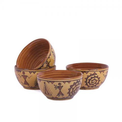 Brown Warli Dessert Katori Bowls Set of Four