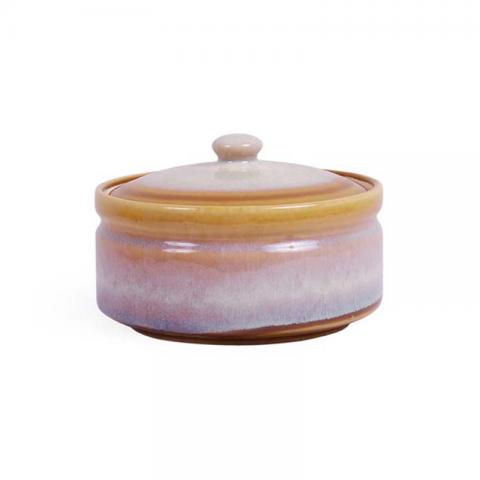 Gold Mustard Serving Bowl with Lid