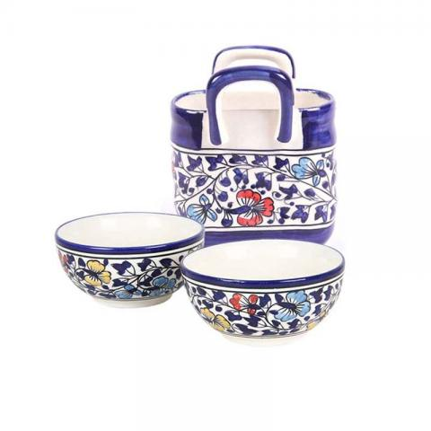 Blue Mughal Serving Dish with Cutlery Holder Combo