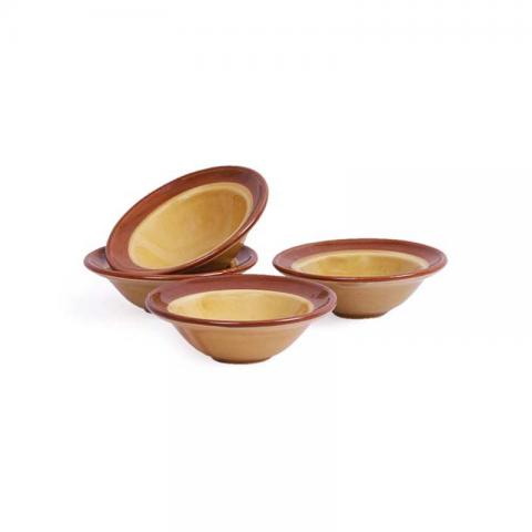 Brown Stoneware Dip Bowls Set of Four