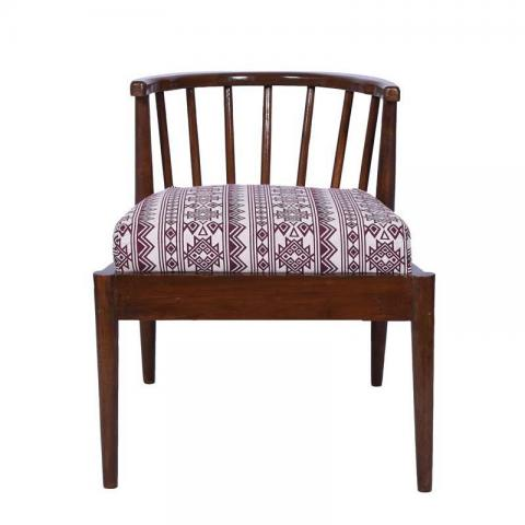 Oakley Accent Chair In Bohemian Jam Fabric With Natural Polish
