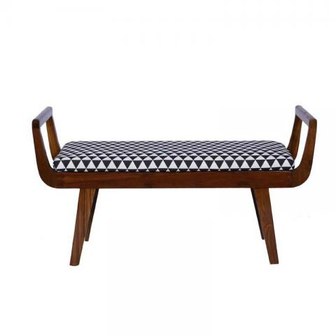 Capella Bench In Russet In Black And White Fabric With Natural Polish