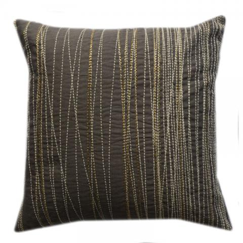 Slate Embroidered Cushion Cover