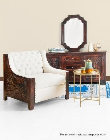Sheesham Wood Amer Upholstered Single Seater Sofa