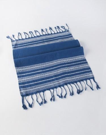 Blue Cotton Woven Darbha Gamcha - Hand Towel