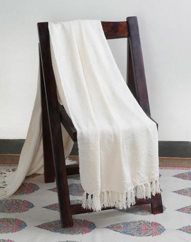 Off White Acrylic Woven Boucle Throw Single